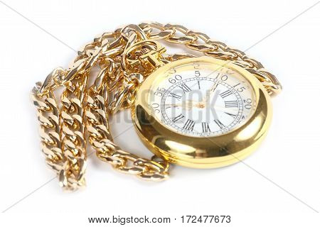 beautiful old antique pocket watch in gold case and chain for hanging
