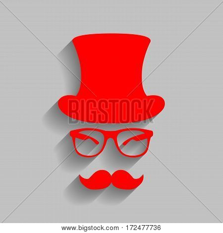 Hipster accessories design. Vector. Red icon with soft shadow on gray background.