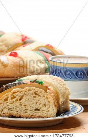 Chocolate cup with Epiphany cake, Kings cake or Rosca de reyes