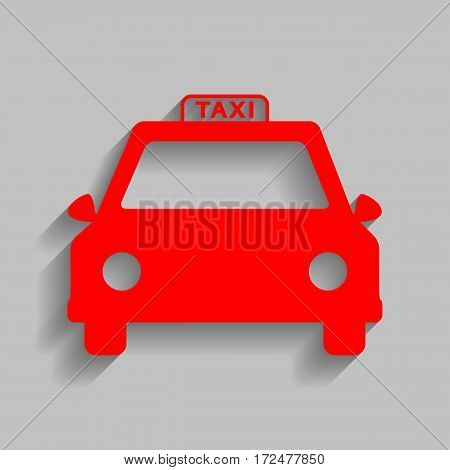 Taxi sign illustration. Vector. Red icon with soft shadow on gray background.