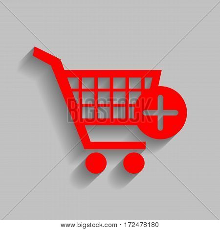 Shopping Cart with add Mark sign. Vector. Red icon with soft shadow on gray background.