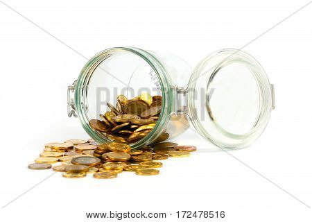 Russian metal coins in a glass jar with constipation as an element of preservation of cash savings of the people