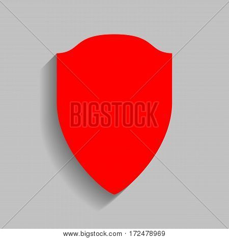 Shield sign illustration. Vector. Red icon with soft shadow on gray background.