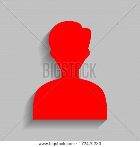 User avatar illustration. Anonymous sign. Vector. Red icon with soft shadow on gray background.