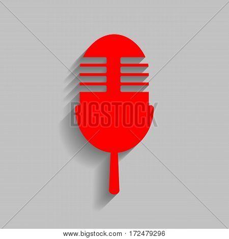 Retro microphone sign. Vector. Red icon with soft shadow on gray background.