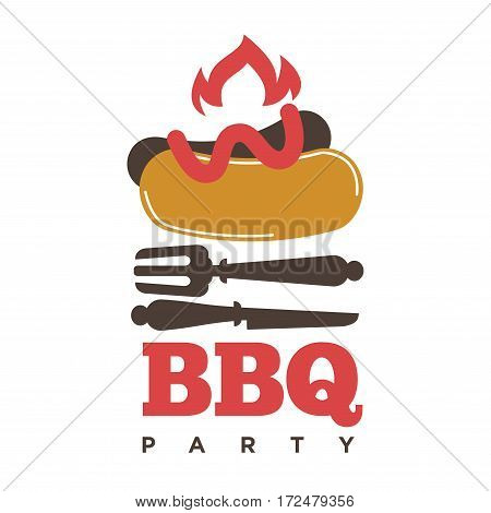 Barbecue or grill sausage logo template. Vector icon of bbq curry wurst on fork for picnic party or meat delicatessen store