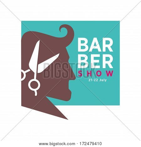 Barber shop logo or vector icon of man head and scissors for barbershop salon, premium hairdresser coiffeur or hipster trend haircutter