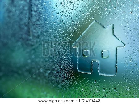 Water drop forming a house - 3D Rendering