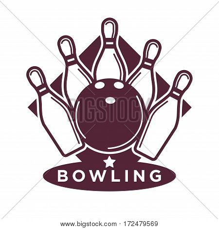 Bowling tournament poster or logo vector template of ball and skittle pins strike for sport game contest
