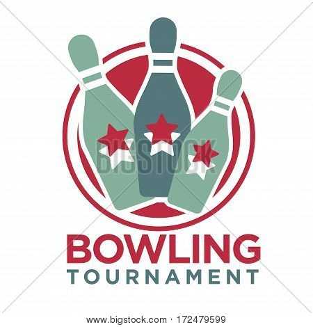 Bowling tournament poster or logo vector template of skittle pins strike for sport game contest