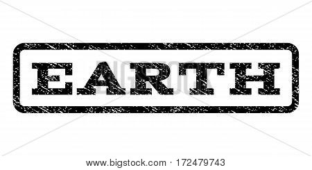 Earth watermark stamp. Text tag inside rounded rectangle frame with grunge design style. Rubber seal stamp with dirty texture. Vector black ink imprint on a white background.