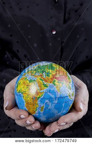 Earth globe in hands protected. Ideal for Earth protection concepts recycling world issues enviroment themes