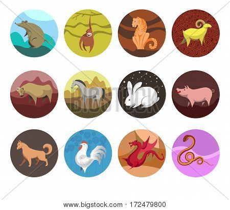 zodiac Set icons of zodiac animals for horoscope design. Chinese horoscope Rat, Ox, Tiger, Rabbit, Dragon, Snake, Horse, Goat, Monkey, Rooster, Dog, Pig. Flat style. Vector illustration isolated