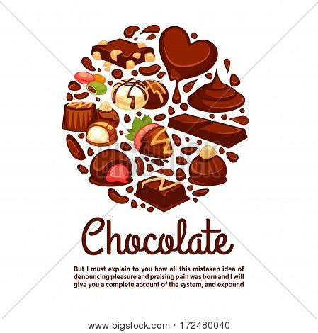 Chocolate circle poster template of confectionery desserts and truffle candy, caramel lollipops and confections bars for bakery shop, pastry or cafeteria and cafe