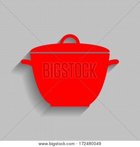 Saucepan simple sign. Vector. Red icon with soft shadow on gray background.