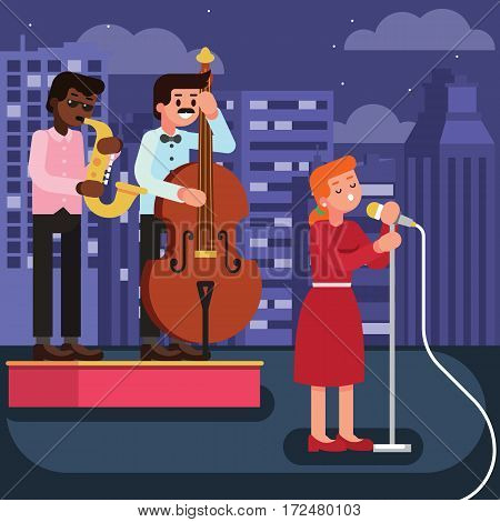 Flat Style Illustration Of Woman Star Celebrity Singer In Red Dress With Musicians