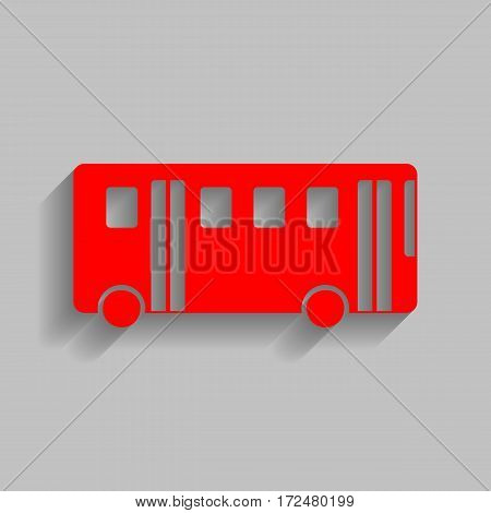Bus simple sign. Vector. Red icon with soft shadow on gray background.