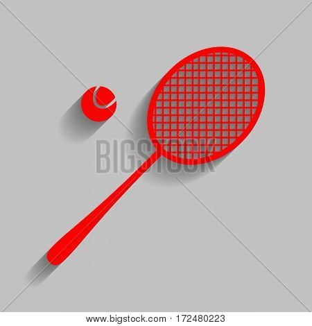 Tennis racquet sign. Vector. Red icon with soft shadow on gray background.