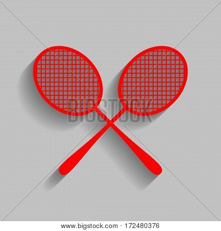 Tennis racquets sign. Vector. Red icon with soft shadow on gray background.