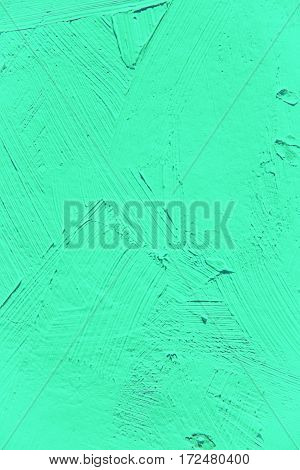 Painting close up of vivid blue,green, turquoise color paint brush strokes  texture for interesting, creative, imaginative backgrounds. For web and design.