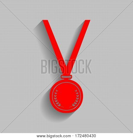 Medal simple sign. Vector. Red icon with soft shadow on gray background.