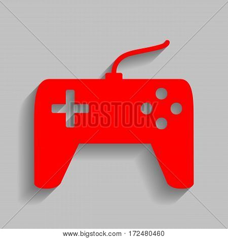 Joystick simple sign. Vector. Red icon with soft shadow on gray background.