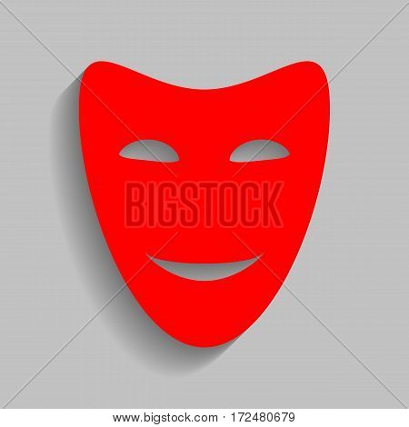 Comedy theatrical masks. Vector. Red icon with soft shadow on gray background.