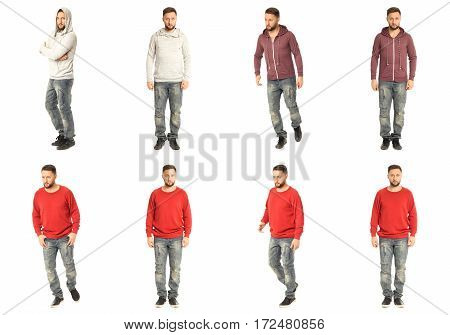 Confident bearded brothers collage isolated on white