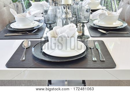Elegance Table Set On Marble Dining Table In Modern Style Dining Room Interior