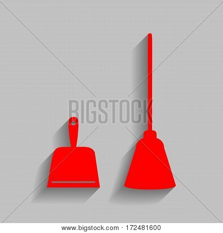 Dustpan vector sign. Scoop for cleaning garbage housework dustpan equipment. Vector. Red icon with soft shadow on gray background.