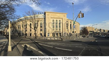 BRONX NEW YORK USA - FEBRUARY 19: Panoramic of Yankee Stadium during the day. Taken February 19 2017 in New York.