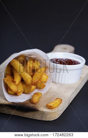 Crispy fried french fries with sauce
