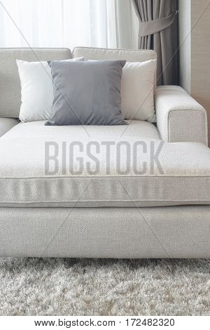 Beige Couch With Pillows In Living Room, So Comfortable