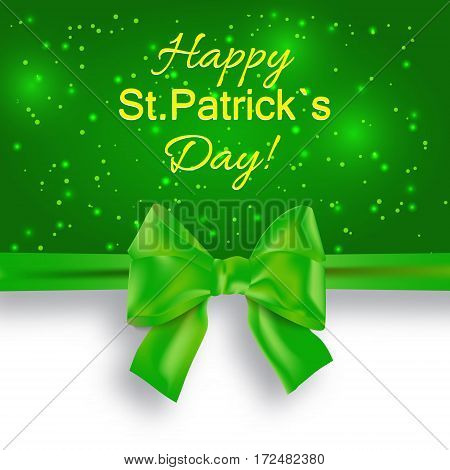 St. Patricks day background with green bow