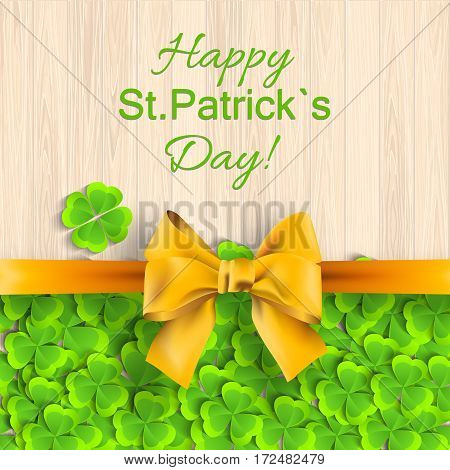 St. Patricks day background with yellow bow