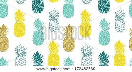 Fresh Blue Yellow Pineapples Vector Repeat Seamless Pattrern in Grey and Yellow Colors. Great for fabric, packaging, wallpaper, invitations. Surface pattern design.