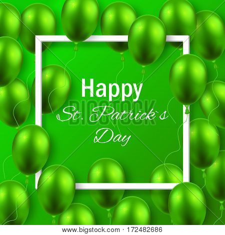 St. Patricks day background with green balloon and frame