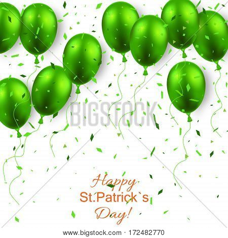 St. Patricks day background with green balloon