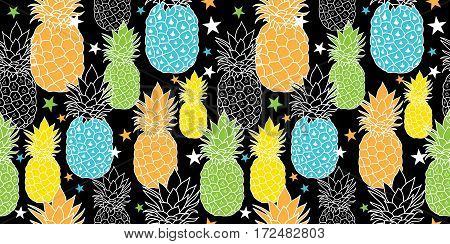 Fun Pineapples Vector Repeat Seamless Pattrern in Black, Blue, Orange and Green Colors. great for fabric, packaging, wallpaper, invitations. Surface pattern design.