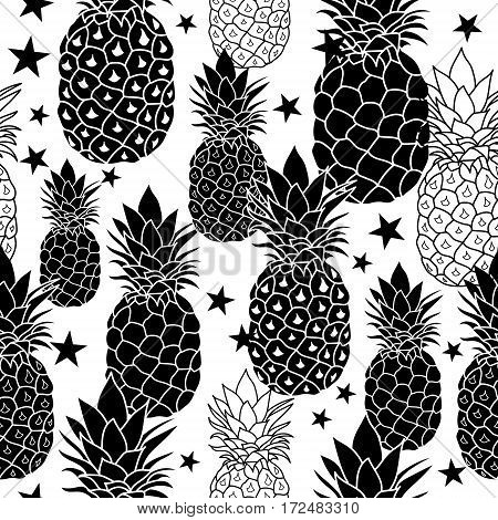 Balck and White Hand Drawn Pineapples Vector Repeat Geometric Seamless Pattrern. great for fabric, packaging, wallpaper, invitations. Surface pattern design.