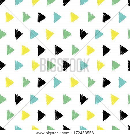 Vector Abstract Hand Drawn Black, Green, Yellow Ink Geometric Arrows Triangles Pattern With Fun Circles. Great for vintage fabric, cards, invitations, clothing, packaging, scrapbooking, wallpaper. Textile design.