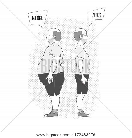 before and after . Man weight loss. Black-white