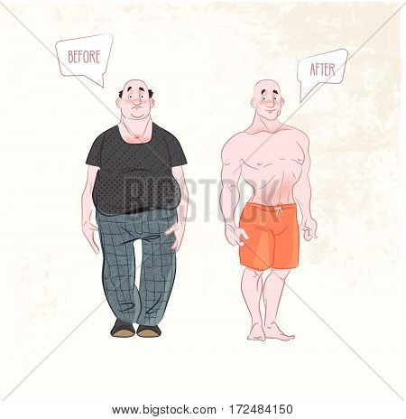 Weight loss. before and after . Man weight loss, muscular guy after lose weight