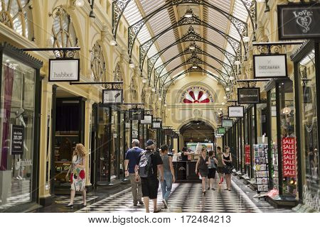 MELBOURNE, AUSTRALIA - January 12, 2017: The Royal Arcade in Melbourne Australia is known for its elegant light-filled interior