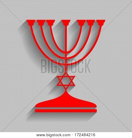 Jewish Menorah candlestick in black silhouette. Vector. Red icon with soft shadow on gray background.