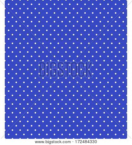 Seamless dot pattern. White dots on blue background