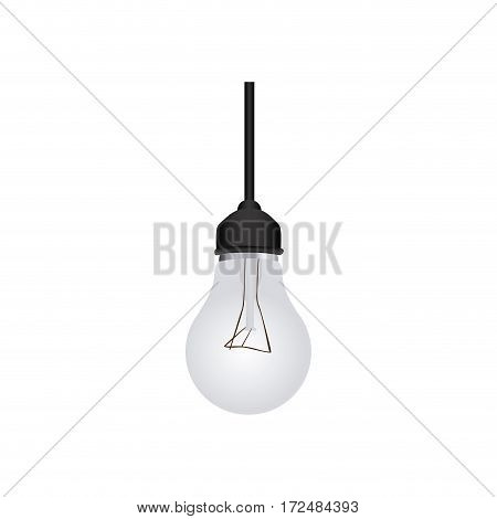 silver bulb hanging icon image, vector illustration design stock