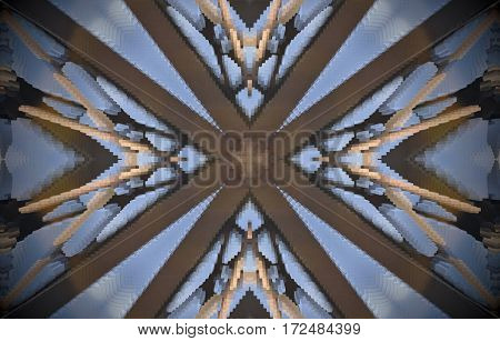 V Shapes Around Cross Metal Structure Extruded Mandala