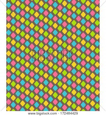 Bright fun abstract diamond shape seamless pattern
