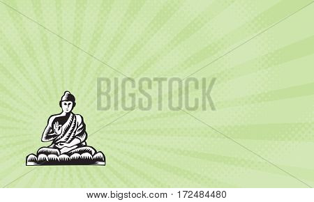 Business card showing Illustration of a Gautama Buddha Siddhartha Gautama Shakyamuni Buddha in lotus position viewed from front set on isolated white background done in retro woodcut style.